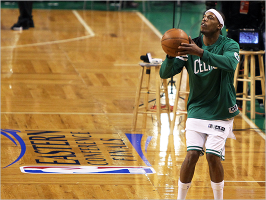 Celtics captain Paul Pierce worked on his shooting before the game. After dropping the first two games in Miami, the Celtics hosted the Miami Heat for Game 3 of the Eastern Conference Finals at TD Garden.