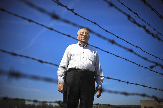 Israel 'Izzy' Arbeiter paused during a final visit to the Auschwitz-Birknenau camp, where he was a prisoner in 1944.