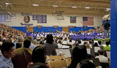 About 360 students graduated from Braintree High School on Saturday, when ceremonies were forced indoors by the heavy rain. Click here for full story.