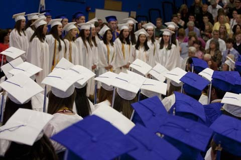 The Senior Choir sings 'Bring On Tomorrow,' a fitting theme for the graduation.