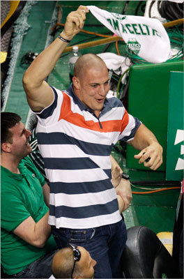Patriots tight end Rob Gronkowski cheers on the Boston Celtics as they face the Miami Heat during the fourth quarter.