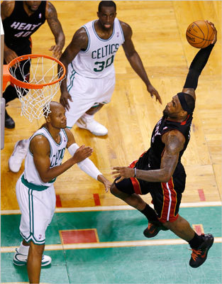 LeBron James drove to dunk the ball over Ray Allen during the second half.