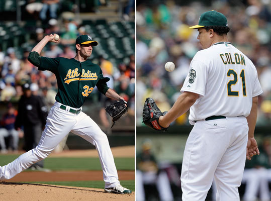 Brandon McCarthy and Bartolo Colon The A's may not be sellers after all, sitting only 6 games back in the AL West and leading the wild-card race. However, two starters could still be viable options for a trade if the A's want to add a bigger piece for the playoff push. Brandon McCarthy is having another strong season, posting a 2.54 ERA in 78 innings pitched. Bartolo Colon has a 3.97 ERA in 118 innings.