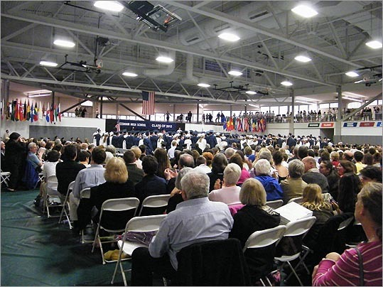 Needham High School The Needham graduation was moved last-minute to Babson College due to inclement weather, where seats filled quickly and a standing room only balcony became more and more crowded as the ceremony progressed.