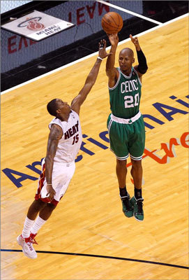 Ray Allen attempted a shot in the first half against Mario Chalmers
