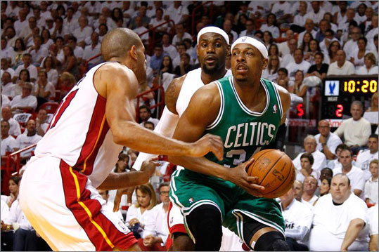 Paul Pierce drove in the first quarter against LeBron James and Shane Battier.