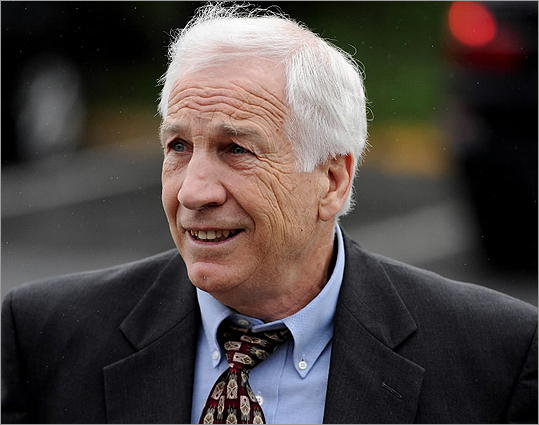 Jerry Sandusky The former assistant football coach and founder of The Second Mile charity for children was convicted of molesting boys over a 15-year period. He was charged with involuntary deviate sexual intercourse, indecent assault of a young child, unlawful contact with minors, corruption of minors, endangering the welfare of children. Sandusky was found guilty of 45 of 48 counts. The judge ordered him to be taken to the county jail to await sentencing in about three months. He faces the possibility of life in prison. Read more.