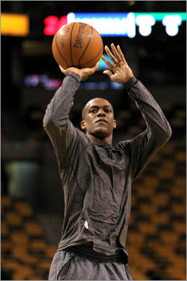 Celtics guard Rajon Rondo practiced his shooting before the game. Rondo was averaging 16.8 points a game in the playoffs prior to Game 6.
