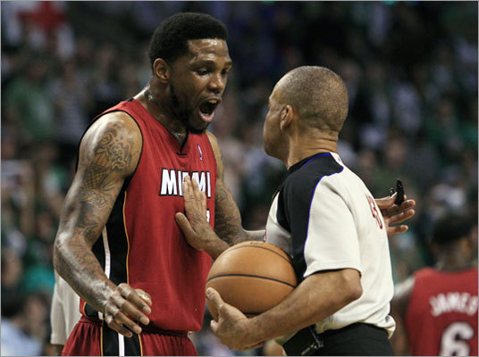 Heat forward Udonis Haslem argued with referee Dan Crawford in the first quarter.