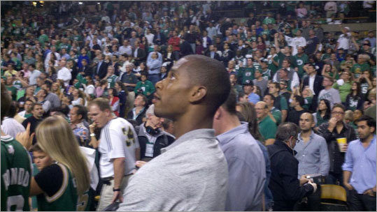 Giants player Victor Cruz, a UMass alum, also took in the game at TD Garden.
