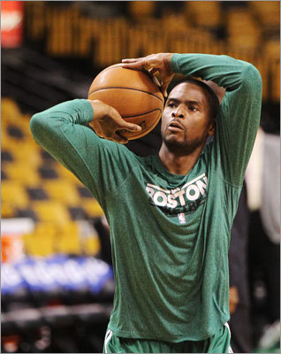 Celtics guard Keyon Dooling, averaging 10.6 minutes a game in the playoffs, warmed up before the tip-off.
