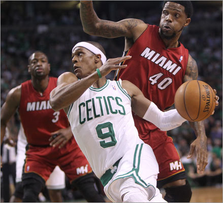 Rajon Rondo slipped past Udonis Haslem in the first half. Rondo led the Celtics in scoring with 21 points.