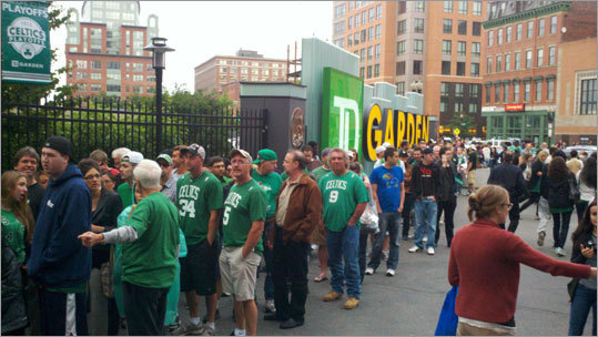 Fans formed a huge line to get into TD Garden for Game 6 of the Eastern Conference Finals Thursday. The Celtics brought a 3-2 lead into the game vs. the Heat.