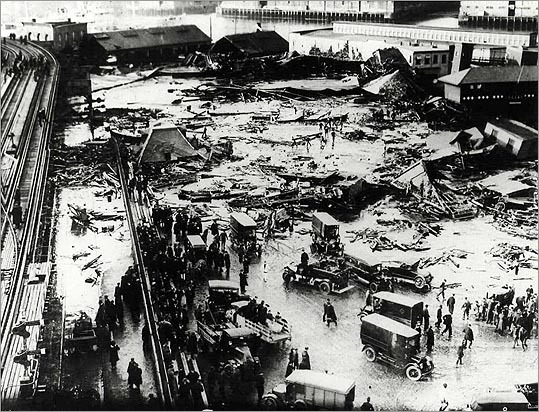 A giant tank of molasses in the North End ruptured on January 15, 1919, sending a flash flood of millions of gallons of sticky goo across the neighborhood. Vehicles and horses were buried, homes were demolished. About 150 people were injured while 21 people drowned or were crushed. The wave, estimated to have been as high as 15 feet, damaged girders of the elevated line and tipped over a train. Some claim that areas of the North End still smells like molasses on warm days.