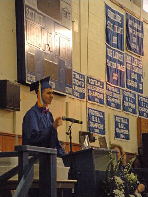 Salutatorian Zachary Brazao, who will attend Harvard in the fall, continued Power's theme of vintage references saying how Daryl Hall never got anywhere without Oates. 'Now I'm sure the Class of 1982 got that reference, but for all you 18-year-olds, I'll put it in MTV terms. DMX might be a great rapper, but he wouldn't be without a great producer.' Brazao's point being that the seniors have not been and will not be successful without the help from others and the building blocks they learned in high school.