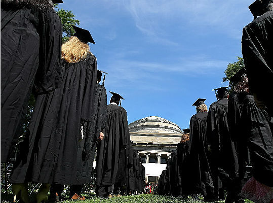 Students lined up to collect their diplomas at Massachusetts Institute of Technology's 146th commencement ceremony held on June 8.