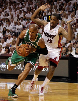 Ray Allen drove on Mario Chalmers in the first quarter.