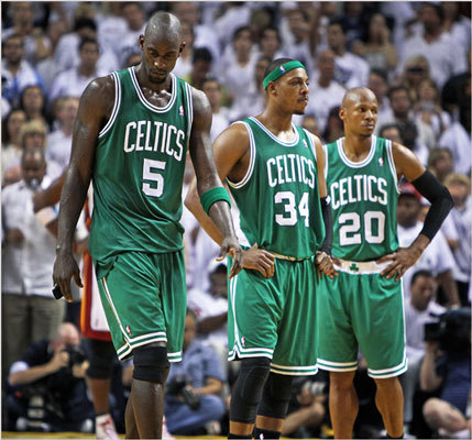 Kevin Garnett, Paul Pierce and Ray Allen are pictured on the court near the end of the game.