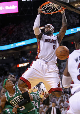 LeBron James hung on the room after a give-and-go alley-oop play with Dwyane Wade at the end of the second quarter.