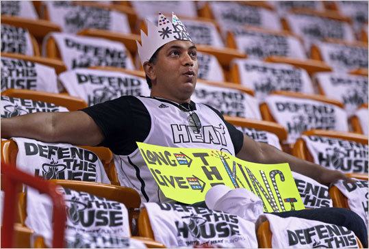 This LeBron James fan was an early arrival in the stands.