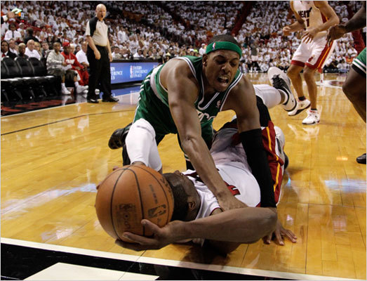 Paul Pierce attempted to block a pass from Dwyane Wade in the third quarter.