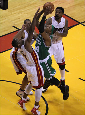 Paul Pierce faced triple coverage as he tried to penetrate the Heat's defense.