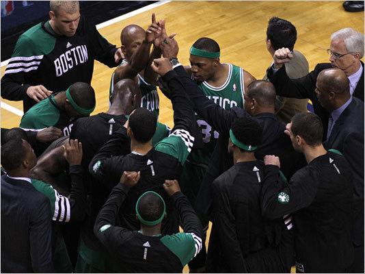 The Celtics huddled up at the start of Game 7.