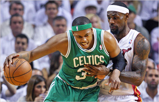 Paul Pierce backed down LeBron James in the second quarter.