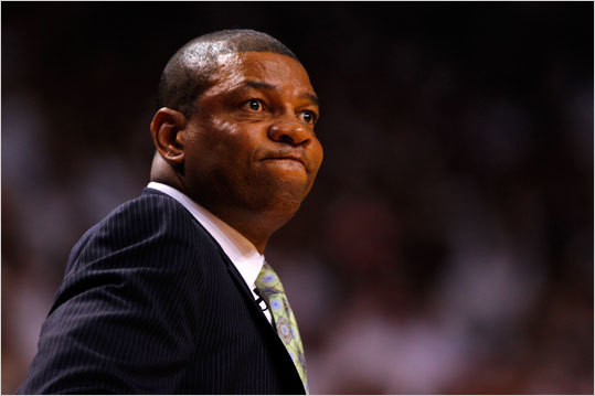 Celtics head coach Doc Rivers reacted in the second quarter.