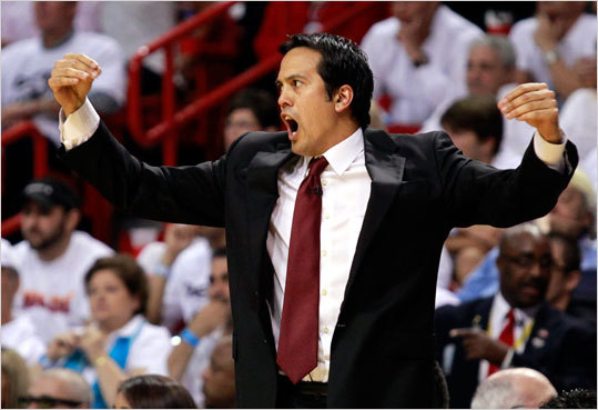 Heat head coach Erik Spoelstra yelled instructions from the sidelines in the second quarter.