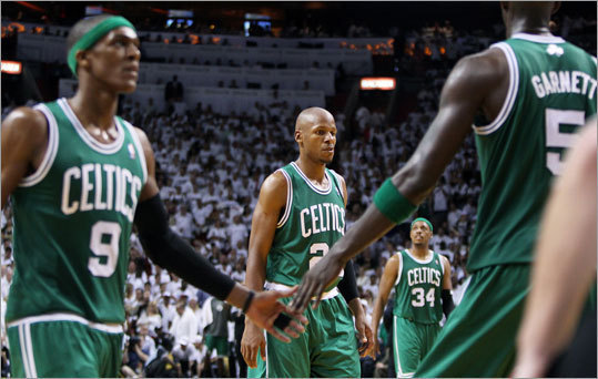 The Celtics gave the Miami Heat all they could handle before running out of gas in the fourth quarter of Game 7 of the NBA Eastern Conference Finals Saturday night. Although the Heat prevailed 101-88, Celtics fans were on the edge of their seats for most of the game. Thoughts of Oklahoma City danced in their heads until the much-maligned LeBron James took over the game along with his partner-in-crime Dwayne Wade and Rajon Rondo (left), Ray Allen, Paul Pierce, and Kevin Garnett would go home after what may have been their last game together. Here's a review of some of the most heartbreaking and disappointing losses suffered by the Celtics, Bruins, Patriots, and Red Sox in recent years.