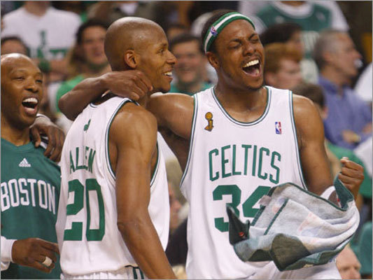 Allen triumphs as Celtics win No. 17 Game 6 of the 2008 Finals was a coronation for the Celtics, a 131-92 drubbing of the Lakers at TD Garden. Dealing with a health crisis with his young son, Ray Allen made 7 of 9 3-pointers in the game. Allen is a creature of habit, but he came through in season's biggest game despite his routine being shattered.