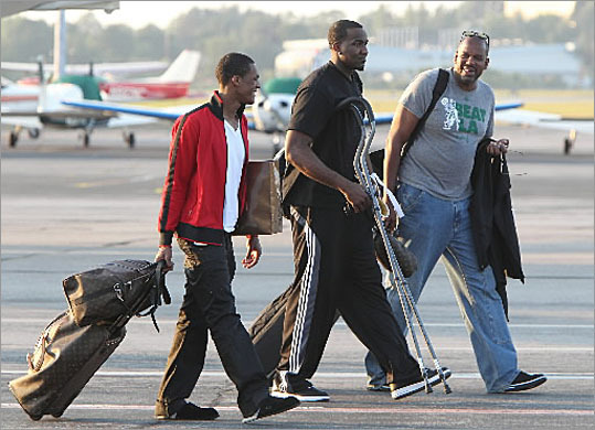 Hanscom has also become a favorite field for corporate use, employed by business executives and even the Boston Celtics. Rajon Rondo (l to r) and Kendrick Perkins and Cedrick Maxwell on the tarmac at Hanscom. They were returning from Los Angeles after the Celtics lost to the Lakers in game 7 of the NBA Finals in 2010.
