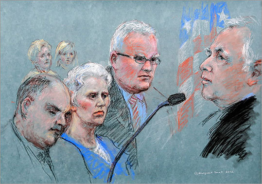 Catherine Greig, the girlfriend of James 'Whitey' Bulger, was sentenced on June 12 to eight years in prison and fined $150,000 for harboring a fugitive and identification fraud. Click through to view pictures of the hearing at the John Joseph Moakley United States Courthouse in Boston. Read the story.