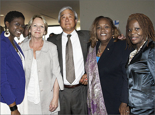June 12 in Boston From left: Amable Bunry of Malden, Donna DeSimone of Lynn, Bill Sakamoto of Lynn, Vivica Pierre of Winthrop, and Vanessa Shannon of Dorchester.