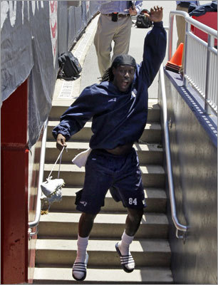 Deion Branch was in a happy mood after practice was canceled. 'It was a shocker,' Branch said. 'But you know coach keeps us on our toes.'