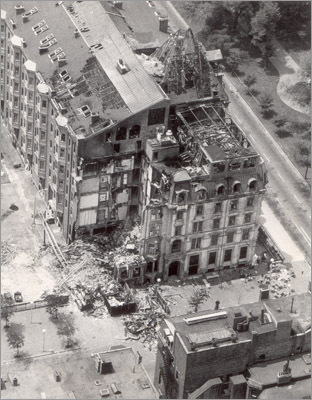 Forty years ago, just one day before Fathers' Day on June 17, 1972, a four-alarm fire broke out in Hotel Vendome on Commonwealth Avenue and Dartmouth Street. After three hours of 16 fire engines and more than 50 firefighters taming and extinguishing the blaze, the southeast section of the seven-story building collapsed without warning onto the crews preparing to exit the building. Nine firemen were killed as a result. This June 27, 1972, photo, which shows the remains of the Hotel Vendome, was taken from a helicopter ten days after the fatal fire.