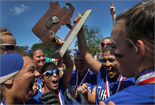 Div. 3 softball Turners Falls players celebrated after defeating Case in the D3 state softball championship, 4-0. It was Turners Falls second straight championship. Story: Turners Falls shuts down Case