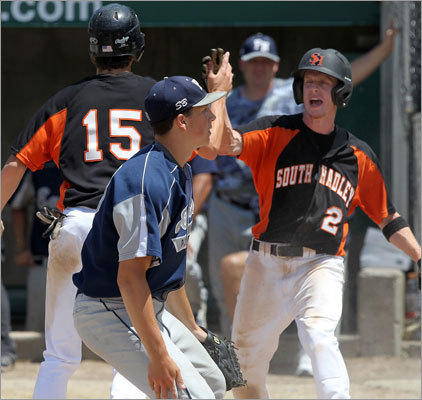 Div. 2 baseball South Hadley celebrated after beating Plymouth North in the Division 2 baseball championship in Worcester. Story: South Hadley stuns Plymouth NOrth in Div. 2 baseball state final