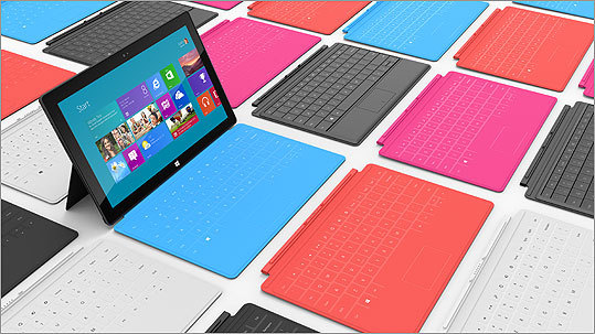 One of selling points that Microsoft has shown for the Surface is its options for multiple cases that give the ability to type directly into the tablet. The covers range from $119 and $129 and come in colors such as cyan, magenta, red, black, or white.