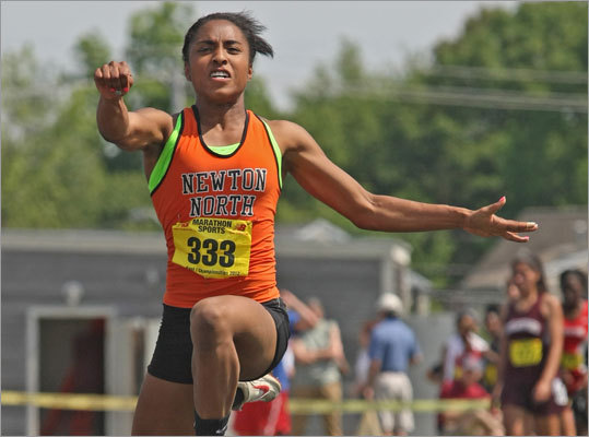 7. Forbes jumps into history books With college coaches lined up watching, and the attention of a national audience, Newton North junior Carla Forbes won not one, but two outdoor track titles at the New Balance National Championships in North Carolina. On Friday it was the triple jump, in a New England record 42-9Æ. And on Saturday it was the long jump, in 19-9Æ. ''It just absolutely amazes me that she keeps pulling this off,'' said Newton North track coach Joe Tranchita. Forbes pulled off the same double at the All-State meet, but at nationals the pressure was far greater. And the triple jump title was her second this year after she won the same event at the indoor nationals. Amazing, and with a year of high school remaining.