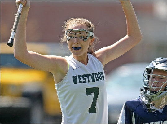 4. Shakey start, great finish for Westwood Do you remember how you felt back in early April when you saw the score, Lincoln-Sudbury 13, Westwood 12? Maybe, just maybe, the Wolverines would surrender control of the girls' EMass Division 1 lacrosse title, something that's happened just once in the past five years. But fast-forward to June and there was Westwood beating L-S, 11-9, in the EMass final, followed by a 20-6 win over Algonquin for the Wolverines fourth title in five years. ''I think just from the seniors' perspective, it's our last game, no regrets, leave everything on the field,'' said Laura McHoul. With seven goals in the title game, mission accomplished.