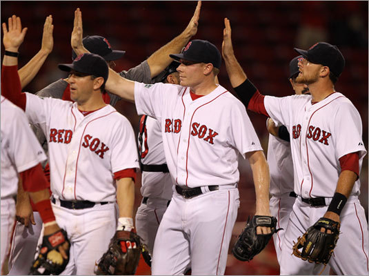 June 20: Red Sox 15, Marlins 5 Red Sox relief pitcher Mark Melancon joined the celebration after finishing up in the ninth inning.