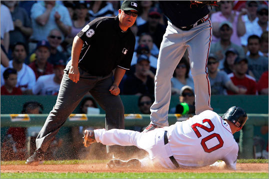 2012 In his final at bat with the Red Sox, Youkilis legged out a triple, sliding into third base ahead of the tag in the seventh inning of a win over the Braves.