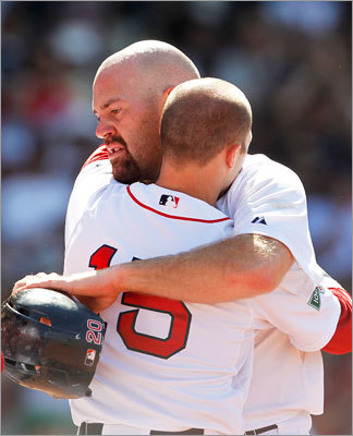 2012 Youkilis was removed from the game after his triple, a sign that a deal was in the works. He hugged teammate Dustin Pedroia as he left the field, then hugged several other teammates before making a curtain call to the Fenway fans.