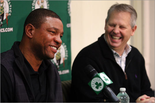 The Celtics have picks Nos. 21, 22, and 51 in the NBA Draft, which takes place this Thursday, June 28. Danny Ainge (right) and Doc Rivers will attempt to transform an aging Celtics roster into one geared toward the future, and size is a definite need. There are two schools of thought in this draft. One is that there will be talent available late, and the other is that the top of the draft is loaded, and that trading into it is a must. With three picks to work with, the Celtics could take advantage of either. With that backdrop, we take a look at players who could be Celtics soon.