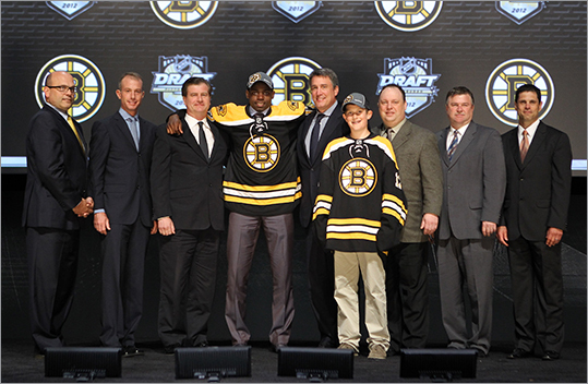 The Bruins drafted six players in seven rounds during the 2012 NHL Draft Friday and Saturday. Bruins Director of Amateur Scouting Wayne Smith said the team looked to add size and toughness, but also players with good character and a commitment to winning. The B's got all of that in this draft, Smith said. Meet the Bruins' draft picks in the slides ahead.