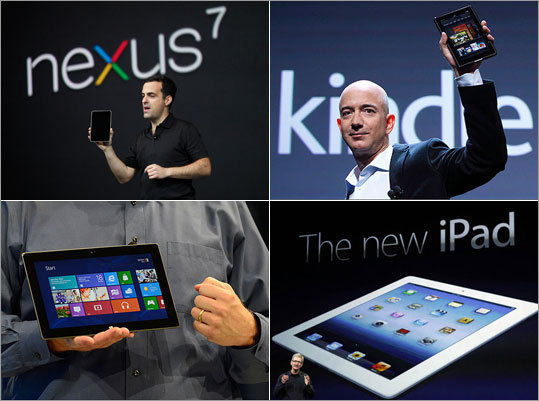 Google unveiled a small tablet computer bearing its brand in a challenge to Amazon's Kindle Fire. Take a look at how the Nexus 7 tablet compares to the iPad and Kindle Fire, as well as Microsoft's recently announced Surface.