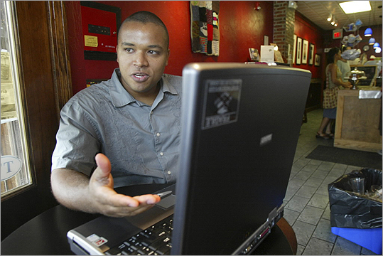 Pictured: Isaac Brody, founder of Babe Go Boom, at True Grounds, a coffee shop in Ball Square in 2006. He started an online community for people in their early twenties.