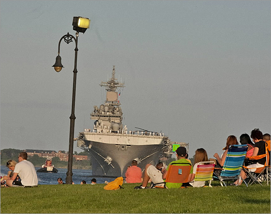 USS Wasp passed by Castle Island coming into the Boston Harbor for the Boston Navy week. Wasp will be in Boston (North Jetty Massport): June 30: noon to 6 p.m., July 1: noon to 6 p.m., July 2: noon to 6 p.m., July 3: noon to 6 p.m., July 5: noon to 6 p.m.